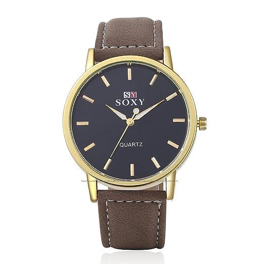 NICERIO Hombres de negocios casual reloj de pulsera banda de cuero correa relojes (Oro)