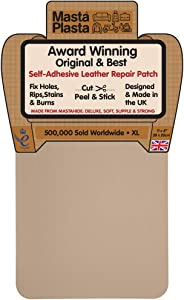 MastaPlasta Self-Adhesive Patch for Leather and Vinyl Repair, XL Plain, Beige - 8 x 11 Inch