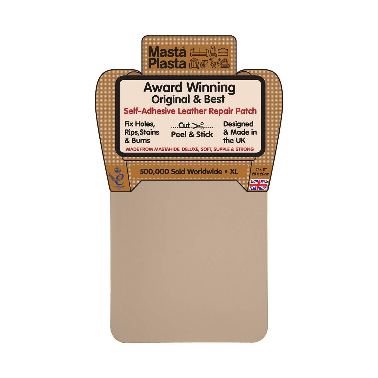 MastaPlasta Self-Adhesive Patch for Leather and Vinyl Repair, XL Plain, Beige -
