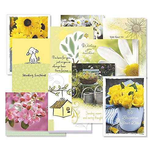(Get Well Greeting Cards Value Pack- Set of 20 (10 designs) Large 5 x 7, Sentiments Inside, Get Well Soon Cards, Get Well Wishes, Envelopes Included)