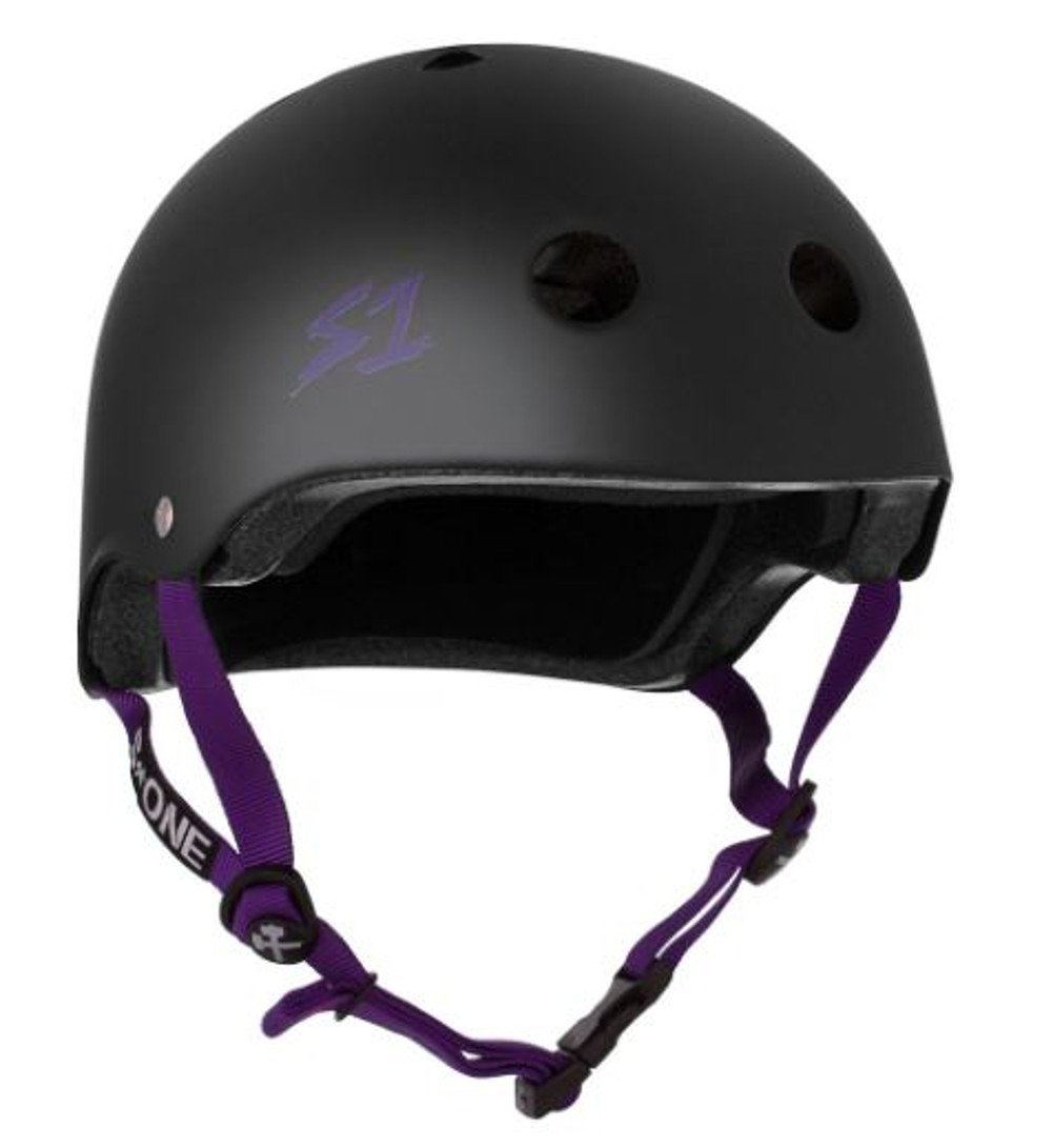 S-ONE Lifer CPSC - Multiple Impact - CPSC Certified - Black Matte w/Purple Straps, X-Large (22.5'') by S-ONE (Image #1)