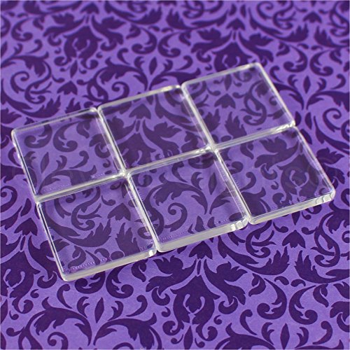 CleverDelights 20 Square Glass Tiles - 1 Inch - Clear Tiles - 1