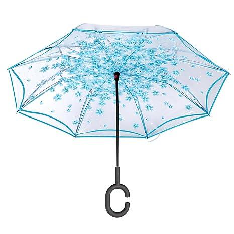 Invertido Paraguas Transparente,Edith qi Doble Capas UV Soleado El Paraguas,C Forma Manos