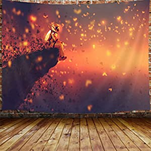 """JAWO Astronaut Butterfly Tapestry for Men, Fantasy Space Trippy Galaxy Small Tapestry Wall Hanging for Bedroom, Bohemian Hippie Tapestry Home Decor (60"""" W X 40"""" H)"""