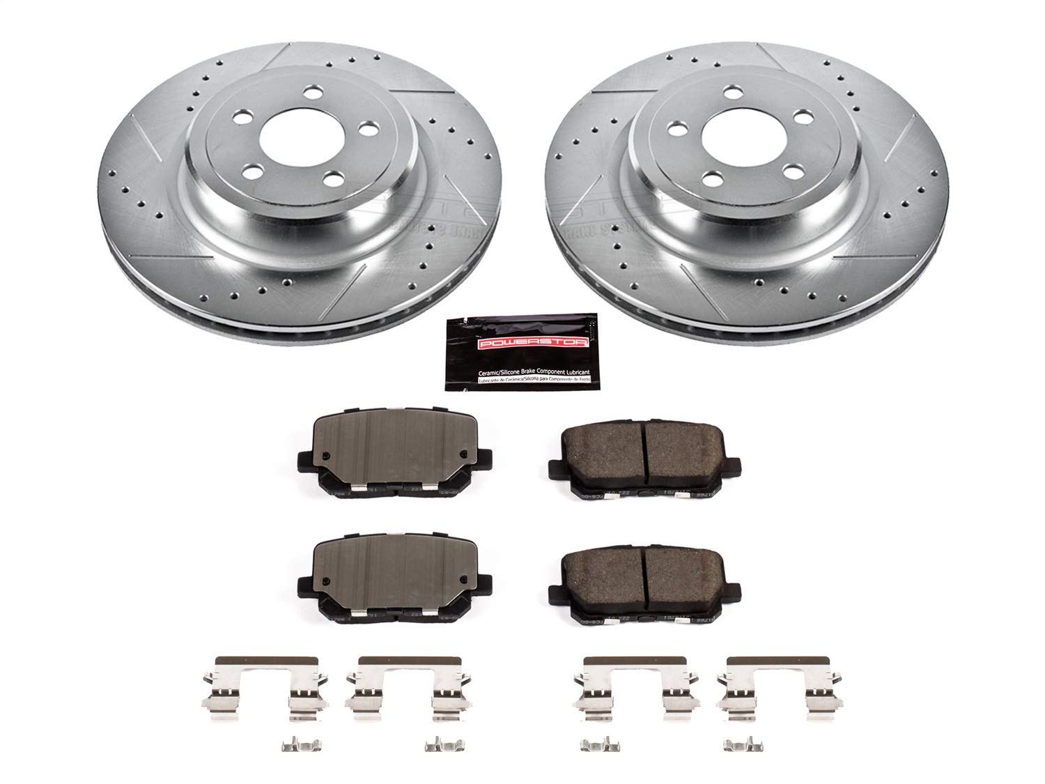 Power Stop K7052 Rear Z23 Evolution Brake Kit with Drilled//Slotted Rotors and Ceramic Brake Pads