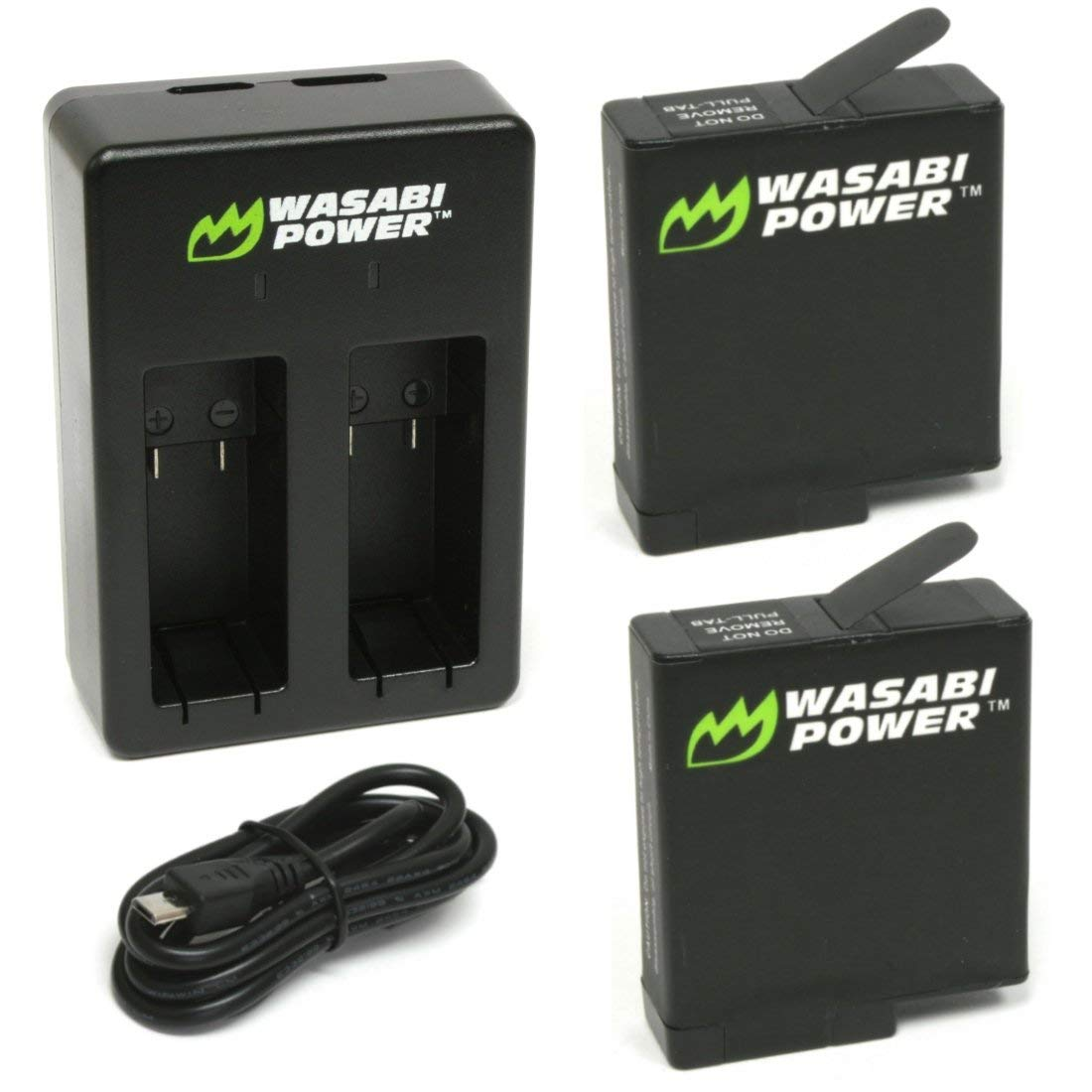 Wasabi Power Battery (2-Pack) & Dual Charger for GoPro HERO7 Black, HERO6 Black, HERO5 Black, Hero (2018 Model) by Wasabi Power