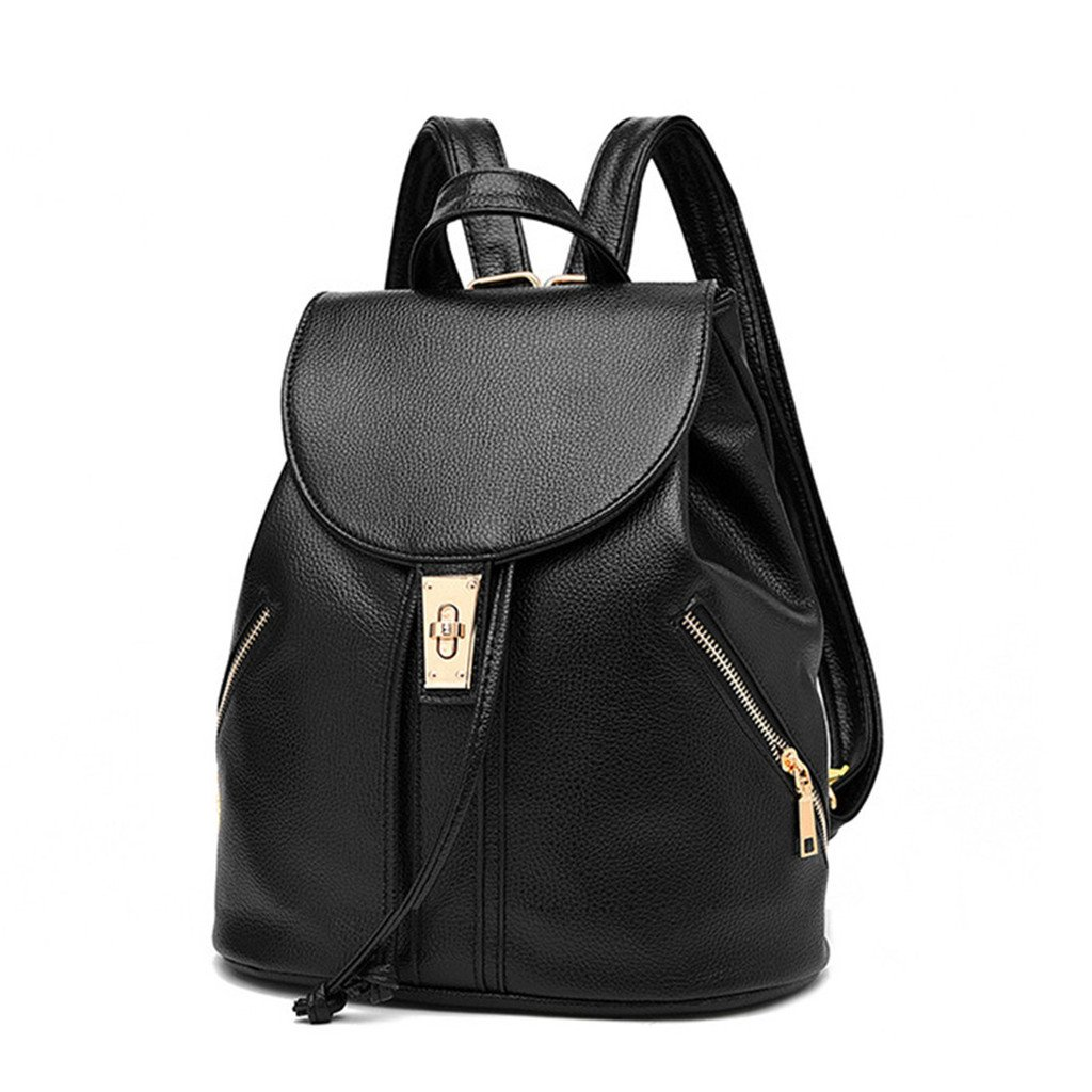 TSRHFGT Women Leather Backpack Purse Fashion School Shoulder Bag Casual Outdoors Purse Drawstring Top-handle Bags Black