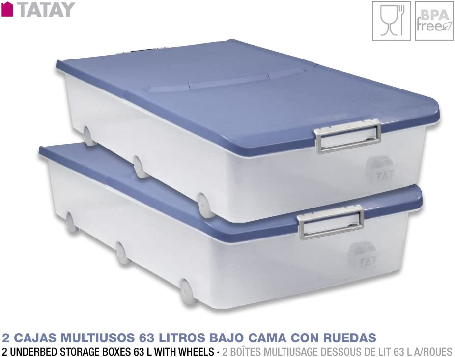 TATAY Lote 2 Cajas Multiusos de 63 Litros Bajo Cama con Ruedas ...