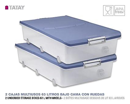 TATAY Lote 2 Cajas Multiusos de 63 Litros Bajo Cama con Ruedas Color Azul Paloma 78