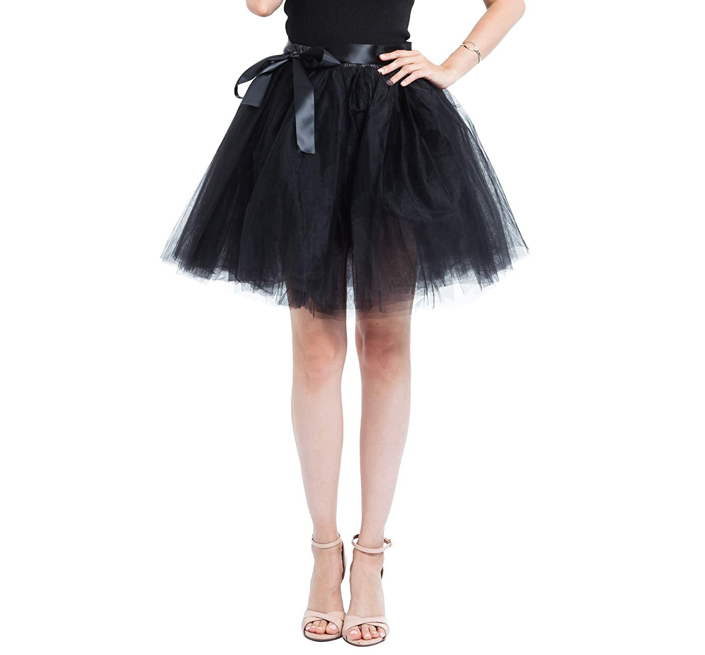 Black Joeoy Women's High Waist Above Knee 7 Layered Bowknot Tutu Tulle Skirt Adult Prom Party Skirt