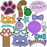 Blue Orchards Kitten Photo Props (32 Pieces) for Photo Booths, Kids Birthdays, Cat Parties and More! Our Kitten Photo Prop Party Favors are Pre-Made (Not DIY) for Your Convenience!