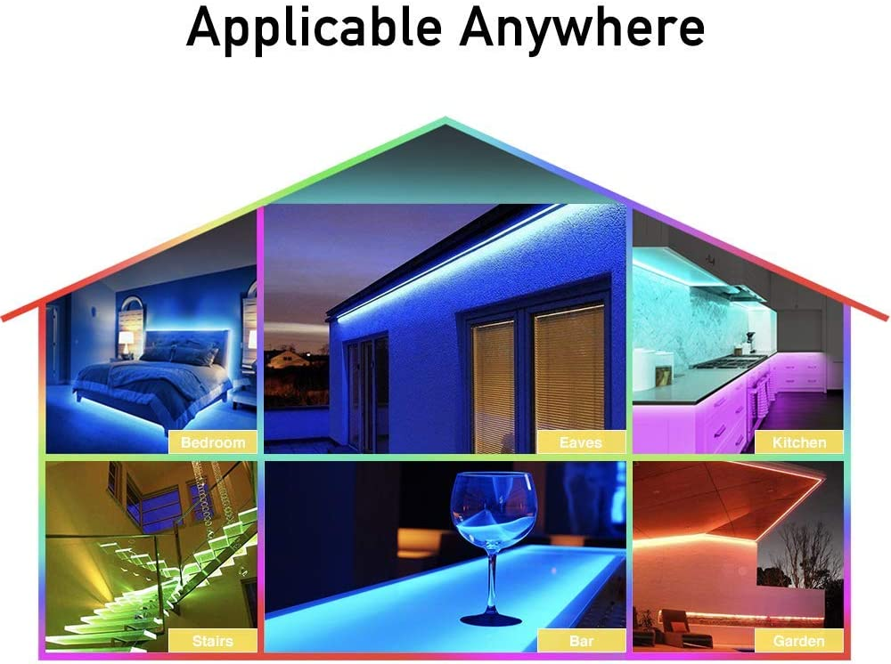 TV Home Party Decoration RGB Light Strips 32.8ft Color Changing Rope Lights for Bedroom 300x 5050 LEDs with IR Remote Controller UL Adapter LED Strip Lights IP65 Waterproof Kitchen