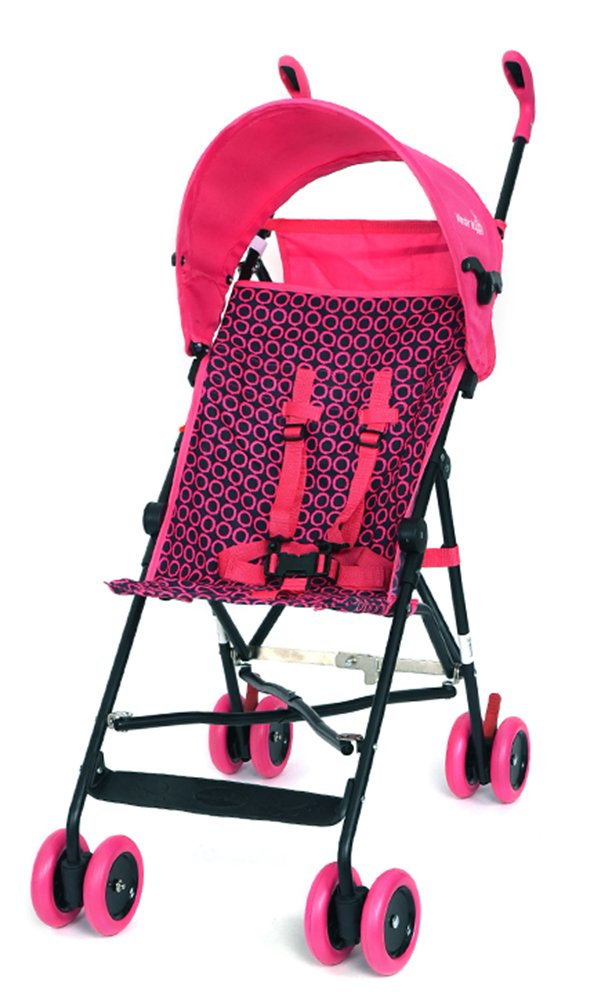 Lightweight Stroller, WonderBuggy Umbrella Baby Stroller with Canopy Fast Fold Compact 5-Point Safety, Pink