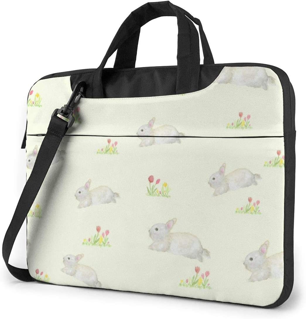 Watercolor Rabbit with Flowers Laptop Case 14 Inch Carrying Case with Strap