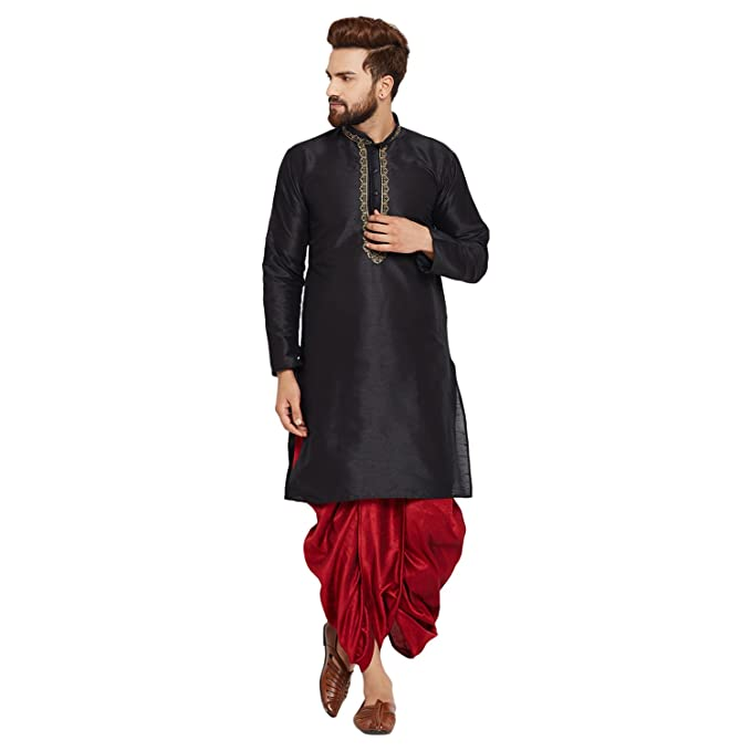 1c9147df6c7d Sojanya (Since 1958) Men s Black and Maroon Dupion Silk Dhoti Kurta ...
