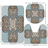 3 Piece Bathroom Mat Set,Arabian,Arabian-Style-Geometric-Pattern-Islamic-Persian-Art-Elements-and-Baroque-Touch-Art,Brown-Teal.jpg,Bath Mat,Bathroom Carpet Rug,Non-Slip
