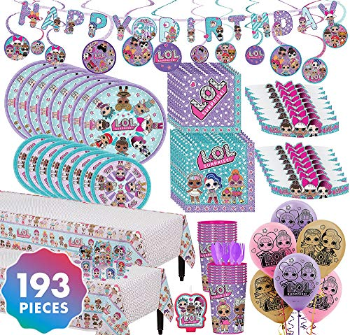 (Party City LOL Surprise! Ultimate Party Kit for 16 Guests, 193 Pieces, Includes Tableware, Cups, Tiaras, and Balloons)