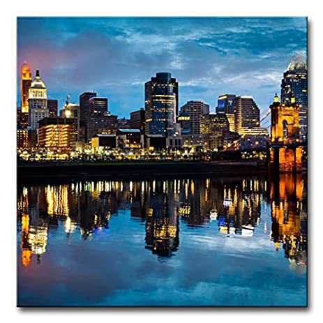 Modern Canvas Painting Wall Art The Picture For Home Decoration Cincinnati  Ohio At Sunrise Reflected In