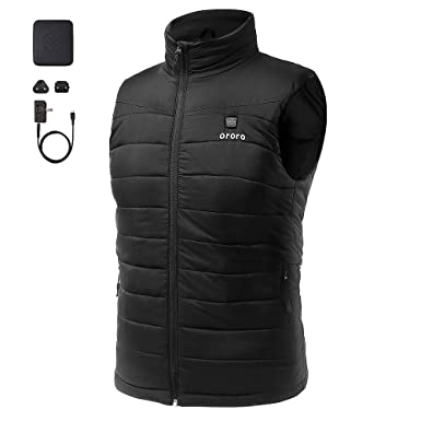 fcc3ddeebb Amazon.com  ororo Men s Lightweight Heated Vest with Battery Pack ...
