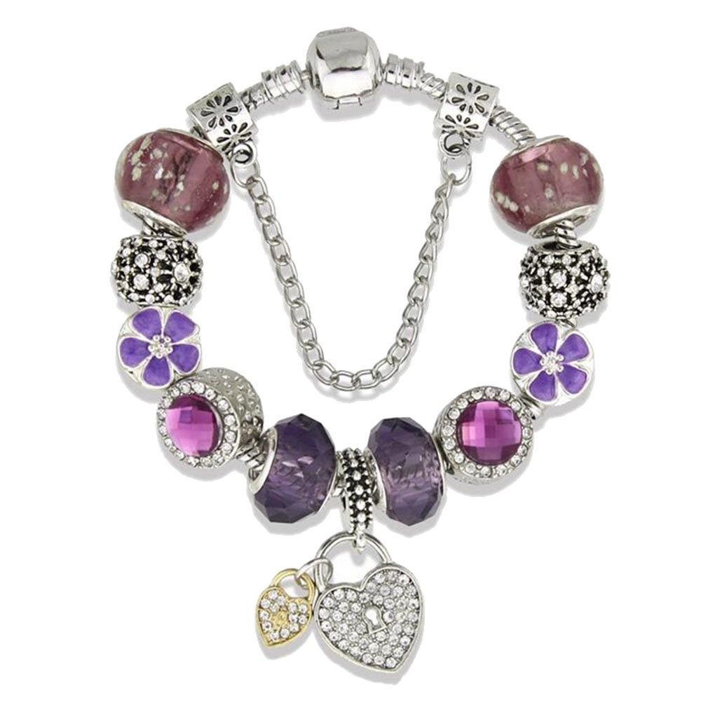 Double Heart Lock Clover Purple Charm Bracelet for Girls and Women with Safe Chain Birthday Gift