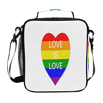 ada25291a9f7 Amazon.com: Love Is Rainbow Flag Heart Lunch Bag Womens Insulated ...