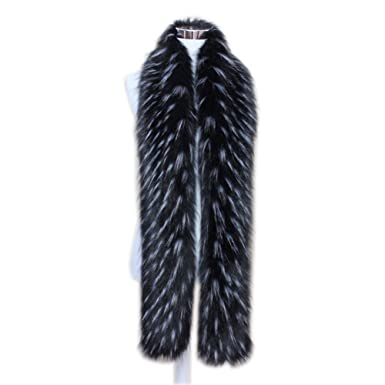 a2d2e303de7bc Men Women Winter Warm Faux Fox Raccoon Fur Collar Stole Long Scarf Shawl ( Black)