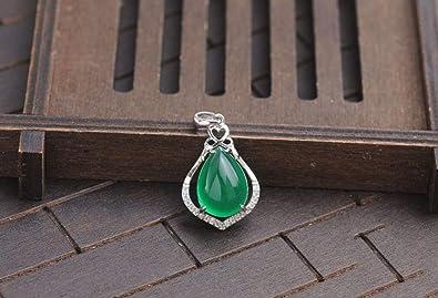 Argent sterling 925/incrust/é Vert jade Jade Pendentif