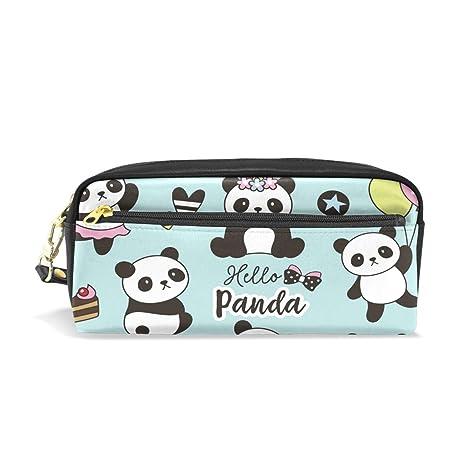 Amazon.com: Cute Panda Unicorn Leather Student Pencil Case ...
