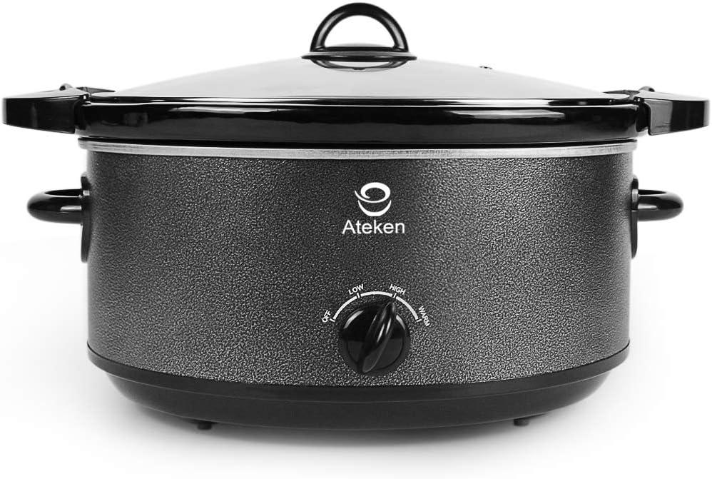 Ateken Slow Cooker 7 Quart Manual with Locking Lid Dishwasher-Safe Stainless Steel Black