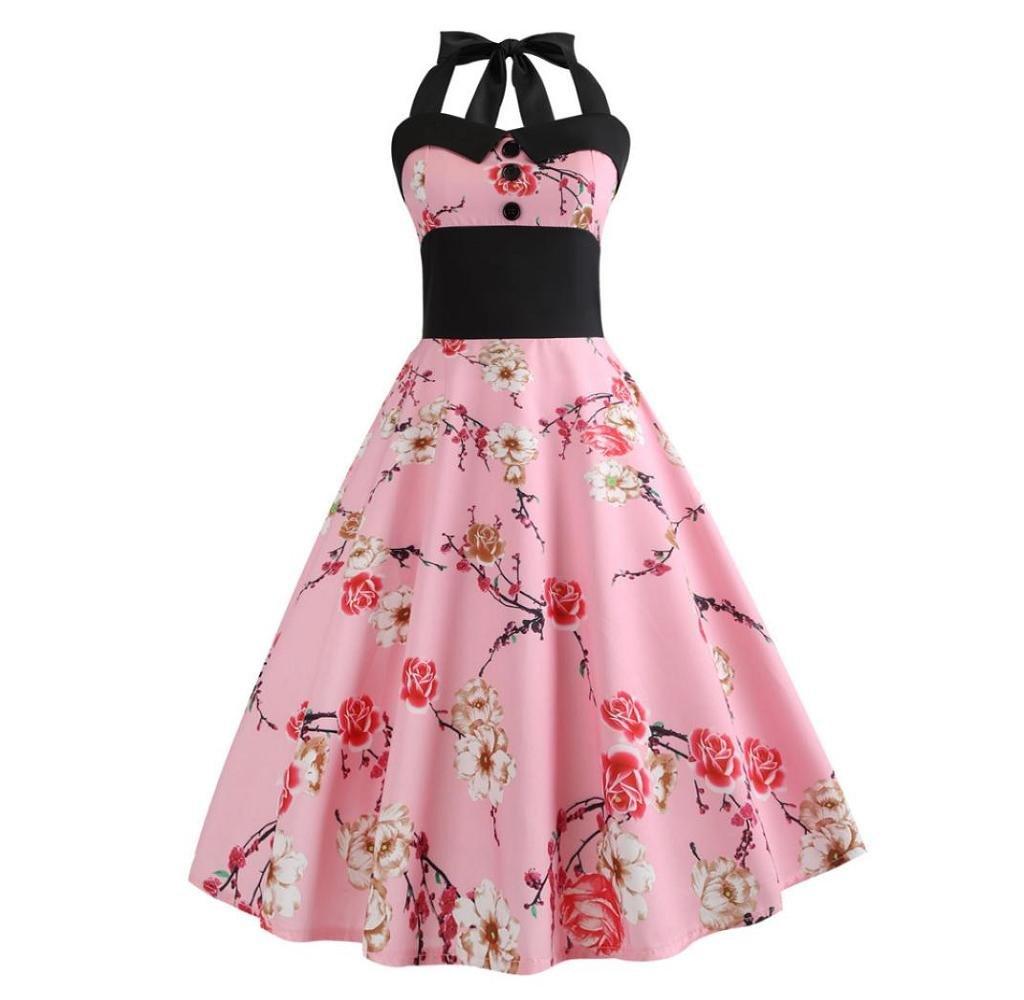 Singleluci Women's Vintage 1950s Rockabilly Audrey Dress Floral Bodycon Halter Cocktail Swing Dress (Pink, XL)
