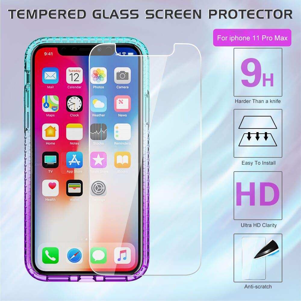 2019 with Tempered Glass Screen Protector iPhone 11 Pro Max Case LeYi Glitter Moving Quicksand Clear Phone Case for Apple iPhone 11 Pro Max 6.5 inch ZX Teal//Purple 2Pack for Girls Women
