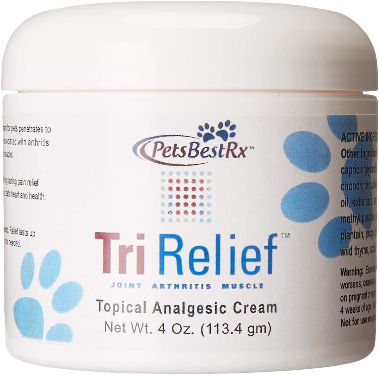 PetsBestRx - Tri Relief Cream for Joint, Muscle and Arthritis Pain in Dogs and Cats - 4 Ounces
