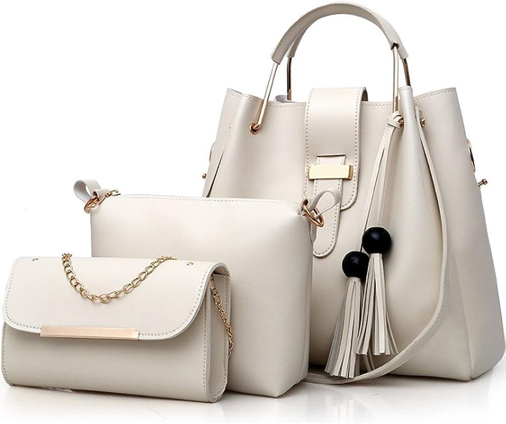 Womens Purse and Handbag 3 Pcs Bag Set Tassel Tote Clutch Satchel Top Handle Shoulder Bag