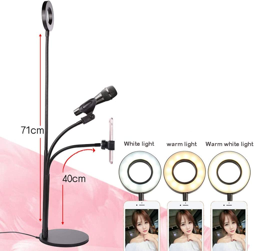 DFYYQ LED Clip//Base Style Ring Light Hose with Phone Holder Fill Light USB Power Network Live Broadcast Lamp Flashes Color : D