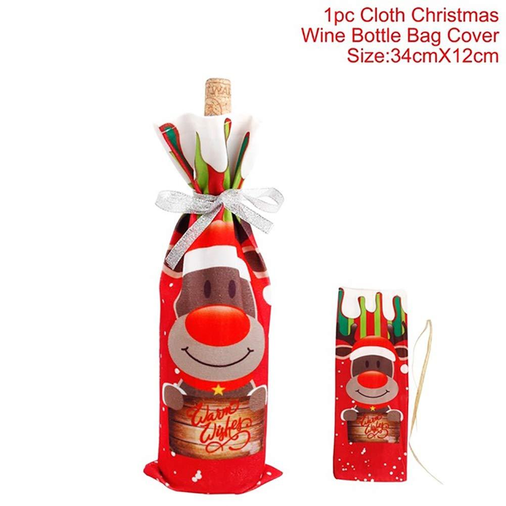1PC de Noël Sac à bouteille de vin rouge Bouteille de Vin de maison Décoration de table fête de Noël Fournitures 34 * 12cm Elk