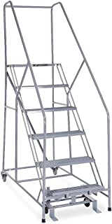 product image for Cotterman - 1206R2630A1E12B4C1P6-6-Step Rolling Ladder, Expanded Metal Step Tread, 90 Overall Height, 450 lb. Load Capacity