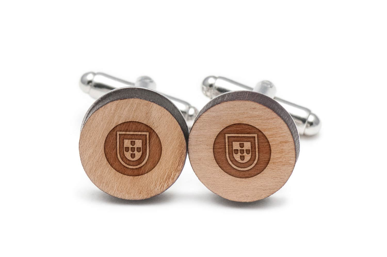 Portugal Coat Of Arms Cufflinks, Wood Cufflinks Hand Made In The Usa