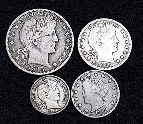 Barber Coinage - Set of 4 Different Coins - Half Dollar, Quarter, Dime, Nickel - Silver, Antique, Investment - 1/2 Good and Better - All Full Date - Great Collection US Mint