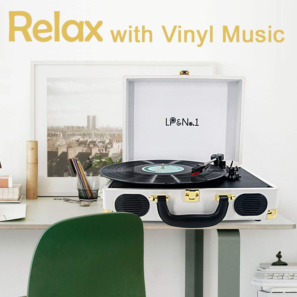 White-Blue LP/&No.1 Suitcase Bluetooth Turntable with Stereo Speaker,3 Speeds Vinyl Record Player