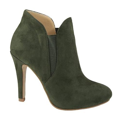 Bella Marie kendall -10 botines stiletto suave elástico con corte y punta redonda para dama: Amazon.es: Zapatos y complementos