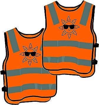 2 Kinder Warnwesten Sicherheitsweste Orange Stark Sichtbar Atmungsaktiv Universal Größe Auto