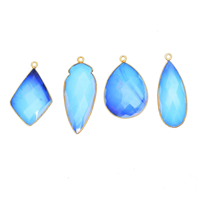Elegantjewels 5 Pcs Opalite Gemstone Marquise 38x16mm Mix Shape Brass Gold Plated Bezel Single Bail Connector Pendant