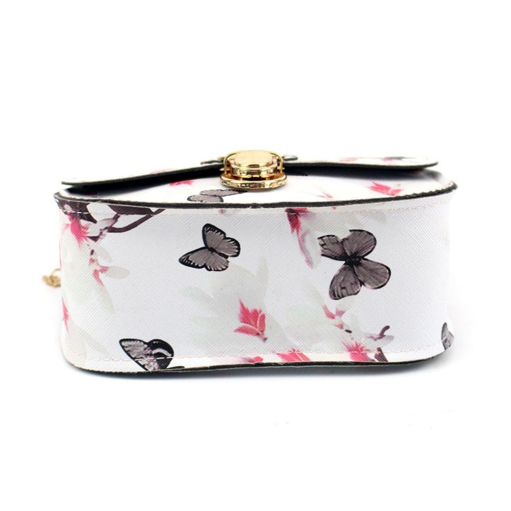 Outsta Butterfly Flower Printing Handbag,Women Shoulder Bag Tote Messenger Bag Phone Bag Coin Bag Travel Backpack Bucket Bag Classic Basic Casual Daypack Travel (White) by Outsta (Image #3)