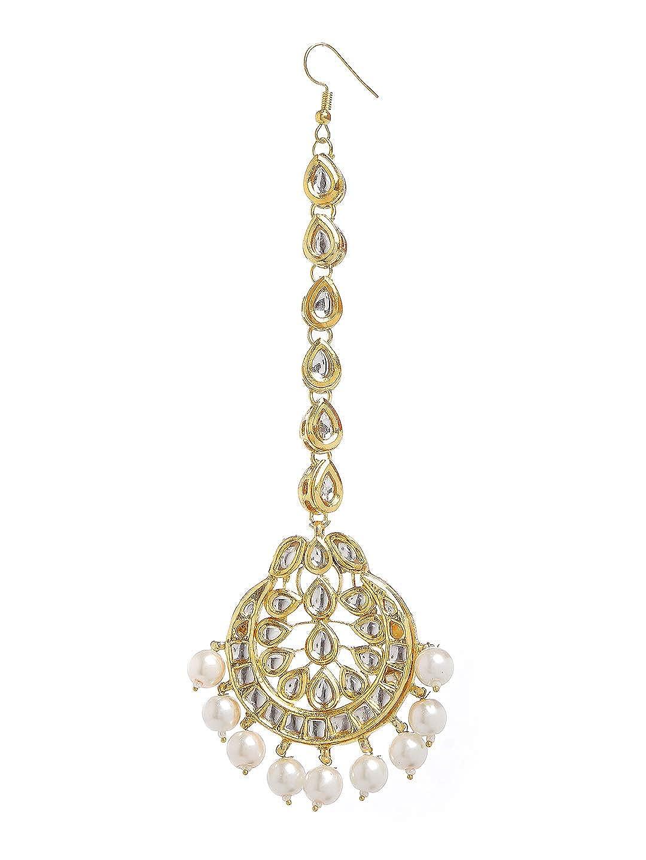 Ratna creation Traditional Indian Exclusive 18K Gold Tone Wedding Kundan White Pearl Maang Tikka Set