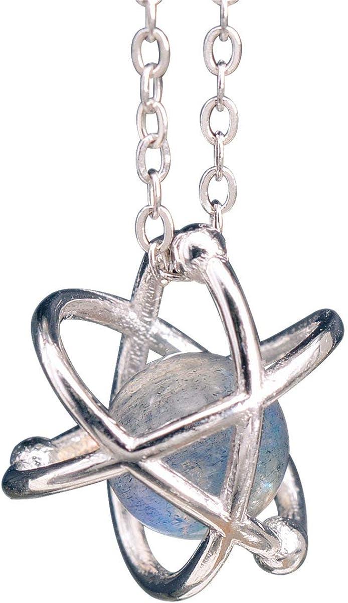 NicoWerk SKE295 - Cadena de plata con colgante de átomo de plata de ley 925, piedra de luna