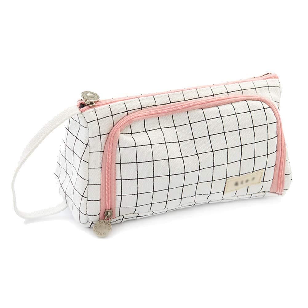 Samaz Pen Bag Pencil Case Large Capacity Canvas Pencil Bag Pouch Stationary Case Makeup Cosmetic Bag (Black Grid) by SAMAZ (Image #1)