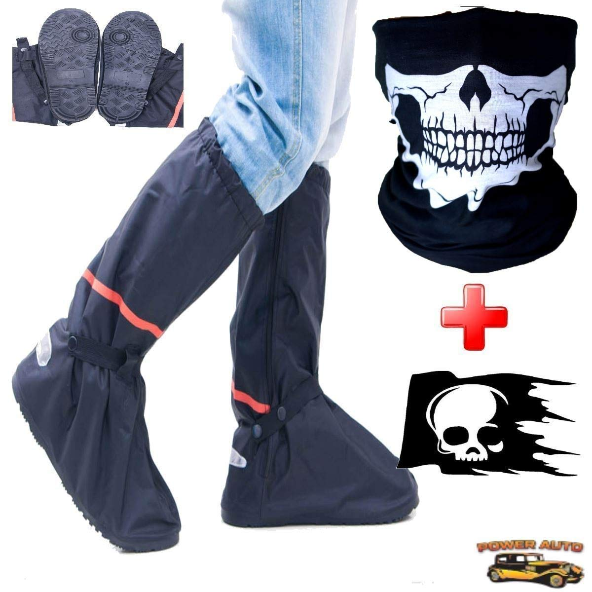 Outdoor Protective Riding Rain Suit Gear Waterproof Weatherproof Full Shoe Slip Over Motorcycle Boot Covers Rainstorm Rainy Days Plus Skull Decal /& Skeleton Riding Face Mask M