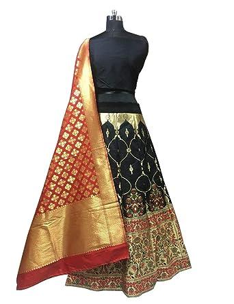 4d1df64c03187 Bichave Black Semi Stitched Brocade Designer Lehenga Wedding Lehenga Choli  With Pure Banarasi Dupatta: Amazon.in: Clothing & Accessories