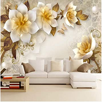 Amazon Com Xbwy Photo Wallpaper 3d Stereo Flowers Retro Living Room Tv Sofa Background Wall Painting 250x175cm Furniture Decor