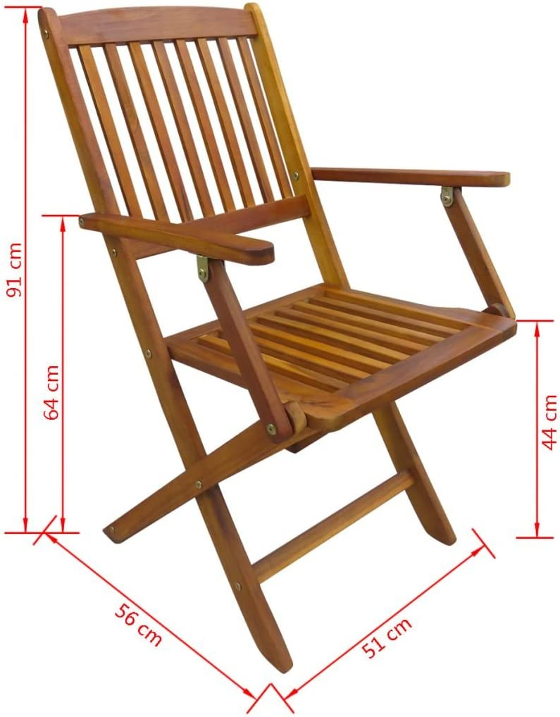 Festnight Outdoor Folding Dining Chairs 2 pcs Solid Acacia Wood